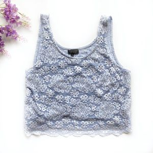 TopShop Blue And White Floral Lace Crop Tank - 10